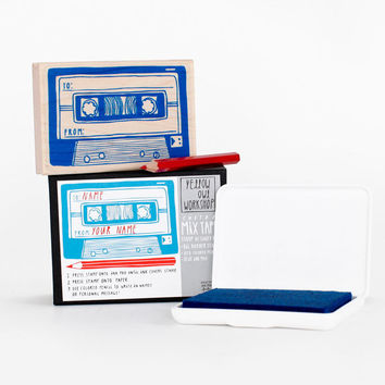 Mix Tape Stamp Art Activity Kit Set with Ink Pad Mixtape Design