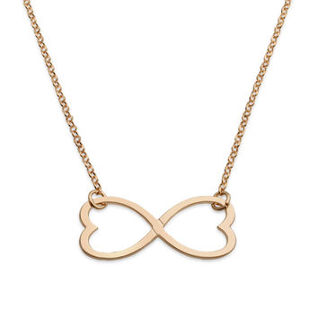 18K Gold Plated Silver infinity Heart Curve necklace