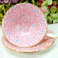 Beautiful Vintage Radfords Porcelain Footed Cup & Saucer ~ Pink Gold Flowers