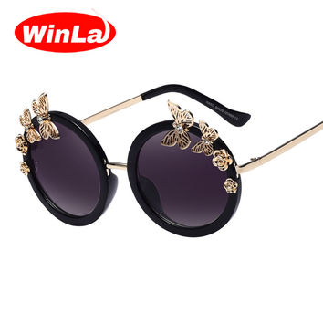 Winla Sunglasses New Fashion Women Sun glasses Round Glasses Anti-Reflective Mirror Butterfly Decoration Eyewears Oculos UV400