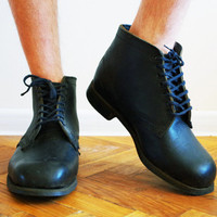 Vintage Soviet era military army boots US size 10 10.5 EU 43 UK 9 ussr soldier rain combat footwear galoshes loafer outdoor pimple sole