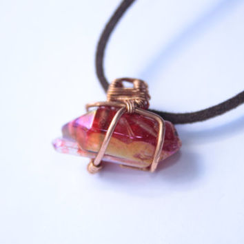 Fuchsia Titanium Aura Quartz Necklace, Copper Wire Wrapped Quartz Pendant, Electroplated Quartz, Metallic Quartz Point, Unusual pendant