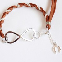 Infinity  Cognac Brown Leather and Silver  Chain Braid by MesaBlue