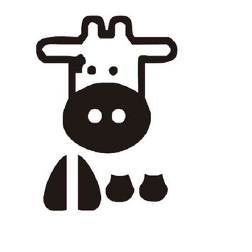 Cartoon Cow Light Switch Sticker Animal Children Bedroom Wall Decal