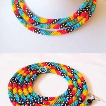 Long Beaded Crochet Rope Necklace - Beadwork - Seed beads jewelry - Elegant - Geometric - Patchwork - Modern necklace