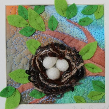 Birds nest in a tree, textile art in 26cm box frame