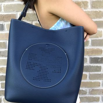 Tory Burch Perforated Logo Hobo Tote Handbag Navy All T Bombe Ella
