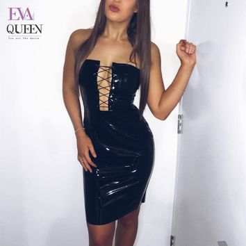 Evaqueen Sexy Dress Bodycon Women Clothing 2017 Autumn New Fashion PU Leather Lace Up Slip Dress Women Sexy Dress Club Wear