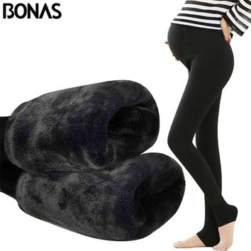 BONAS Winter Pregnant Tights Pantyhose Adjustable Waist Thick