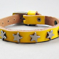 FREESHIPPING Yellow leather with metal star rivets Wristband/Cuff | chicchoices - Jewelry on ArtFire