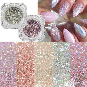 1Box Platinum Shiny Nail Glitter Powder Laser Sparkly Diamond Manicure Nail Art Chr1Box Pome Pigment DIY Nail Art Decoration LABG01-26