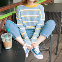 Free Shipping ANGEL BLUE/Pink STRIPED SWEATER
