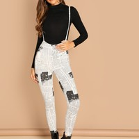 Newspaper Print Leggings With Straps