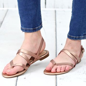 Crossed Off Dainty Metallic Sandals {Rose Gold}