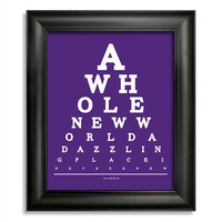 Aladdin, A Whole New World A Dazzling Place I Never Knew Eye Chart, 8 x 10 Giclee Print BUY 2 GET 1 FREE