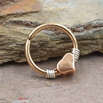 Heart Rose Gold Daith Hoop Ring Rook Hoop Cartilage Helix