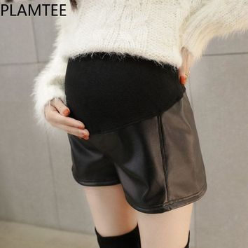 Maternity Shorts For Pregnant Women Leisure Leather Maternity Pants Black Thick Pregnancy Clothes