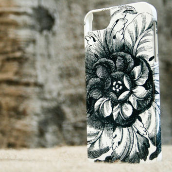 Black and White iPhone 5 Case, Chic Flower iPhone4 Cell Phone Cover
