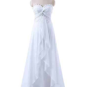 Sweetheart Wedding Dress Edaier Real Photo Floor Length Beach Wedding Dress White Lace Chiffon Formal Party Bride Bridal Gowns