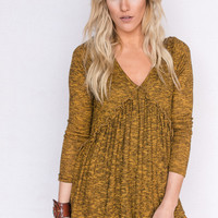 Marled Long-Sleeved Tunic In Mustard