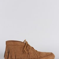 Bamboo Suede Round Toe Fringe Lace Up Moccasin Flat Booties