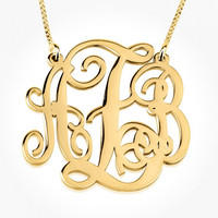 24K Gold Plated Small Split Monogram Necklace