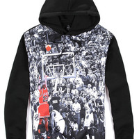 Black Michael Jordan 23 Print Long Sleeve Hooded Sweatshirt