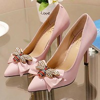 GUCCI Women New Fashion High Quality Diamond Pearl Bee Bow 9 CM High Heels Shoes Pink