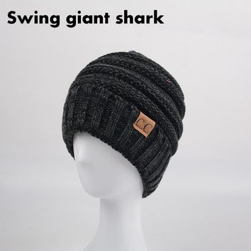 [Swing giant shark] 2017 new product cc beanie for men fashion ladies small hat winterhats for women hat warm knitted hats