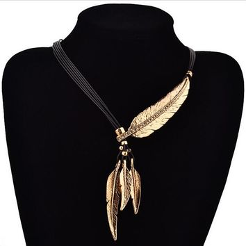 Women Fashion Steampunk Jewelry  Leather Rope Chain Full Rhinestone Crystal Vintage Leaf Tassel Pendant Lariat Choker Necklace