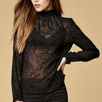 MinkPink Shadows Flocked Sheer Mock Neck Top at PacSun.com