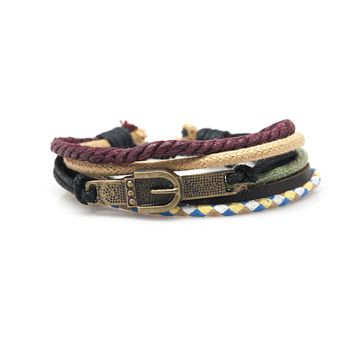 Belt Buckle Rope and Leather Adjustable Unisex Charm Bracelet