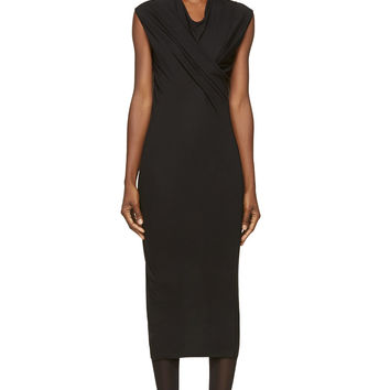 Rick Owens Lilies Black Cross Drape Dress