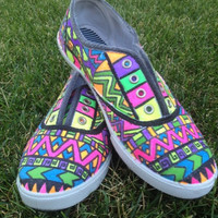 Tribal Print Geometric Canvas Custom Shoes