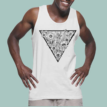 Triangle Flowers | Lightweight fashion tank for men | Graphic tank top | Tattoo style | Original Artwork | Pen and Ink Flowers | Geometrical