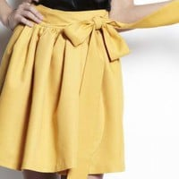 Yellow Wrap Skirt - Twill Wrap Skirt | UsTrendy