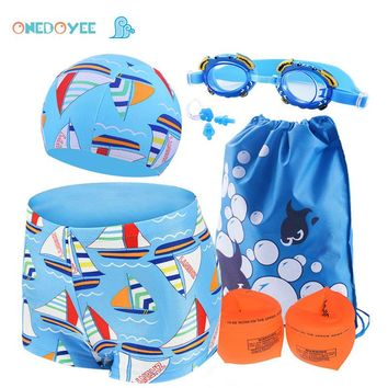 Kids Swimwear 6 PCS Sets 3-10 Year Boys Swimming Polyester Trunks Children Swimsuit Baby Beach Wear Bathing suit