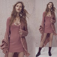 Solid Color Bodycon Deep V-Neck Long Sleeve Knit Mini Dress