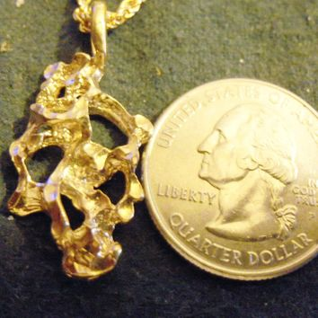 bling 14kt yellow gold plated money lucky nugget design sign symbol casino gambling pendant charm 24 inch rope chain hip hop trendy fashion necklace jewelry