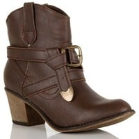 Brown Belted Western Booties