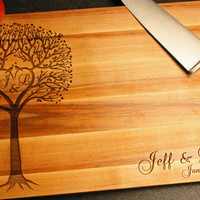 Personalized Cutting Board BOOS Maple w/ Love Birds Heart Tree Initials Names Monogram Wedding Anniversary Couple Bridal Present Gift