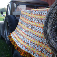 Vintage Fringed Afghan Looking Lovely Fall Colors