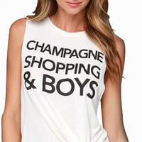 White Champagne Shopping & Boys Sleeveless Shirt