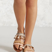 Tasseled Toe-Loop Clear Sandals
