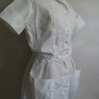 Vintage 1960s Nurse Uniform White Nylon Short Sleeve Pleat Dress Costume Lrg