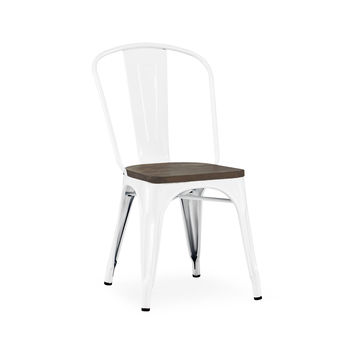 Sundsvall Steel Stackable Glossy White + Elm Wood Seat Side Chair (Set of 4)