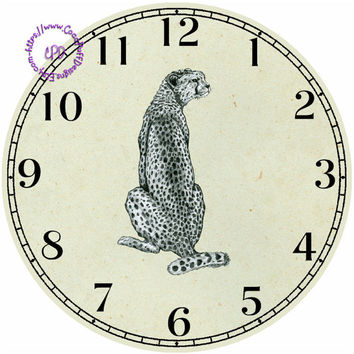 """Drawing Cheetah Feline Art - -DIY Digital Collage - 12.5"""" DIA for 12"""" Clock Face Art - Crafts Projects"""