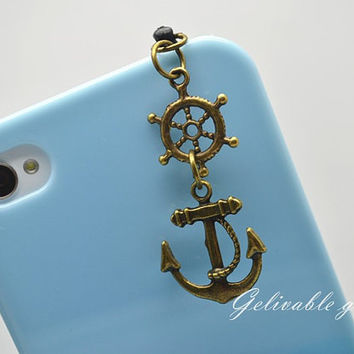 Pirate iPhone 5 4S 4 charm,3.5mm dust proof plug with rudder and anchor charms,fit for samsung Blackberry HTC PSRA02