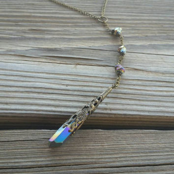 rainbow keeper necklace // druzy Y necklace // nickel free // R186