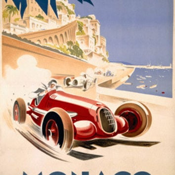 1937 Monaco Grand Prix F1 Race Ad by Geo Ham Fine Art Print